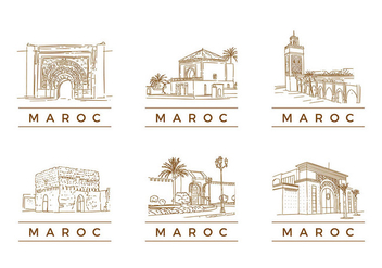 MAROC TOURIST LANDMARK VECTOR - Free vector #380515
