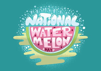 National Watermelon Day Vector - vector gratuit(e) #380775