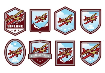 Free Biplane Badge Vector Pack - Free vector #381045
