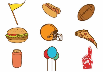 Free Hand Drawn Tailgate Party Icon Set - Free vector #381305