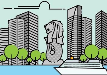 Minimalist Merlion Singapore Landscape - vector gratuit #381435
