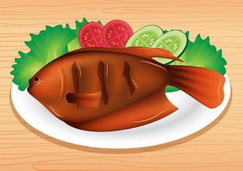 Grilled Fish - vector gratuit #381605