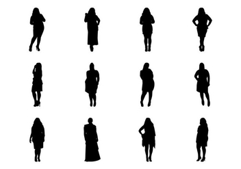 Free Fat Women Silhouette Vector - Free vector #381745