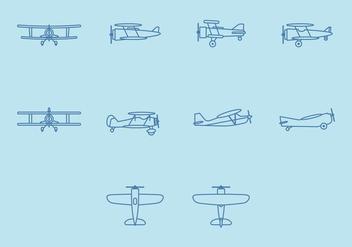 Biplane Icon Set - Free vector #381815