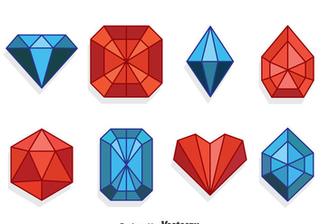 Red And Blue Gems Collection Set - Free vector #381915