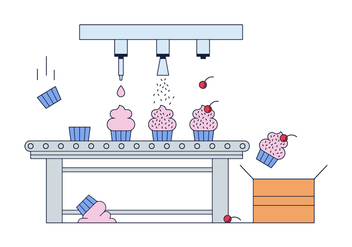 Free Cupcake Factory Vector - Free vector #382065