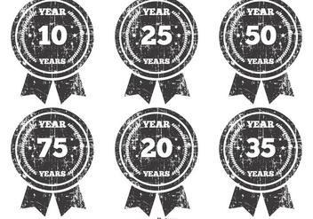 Grunge Anniversary Badges - vector gratuit(e) #383085