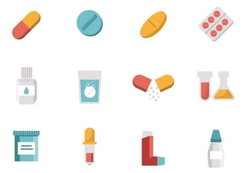 Free Medicine ( Drugs ) Collection Icons Vector - Free vector #383155