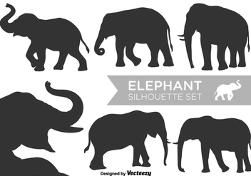 Vector Elephant Silhouettes Vector Set - Free vector #383405