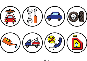 Car Repair Circle Icons - бесплатный vector #383595