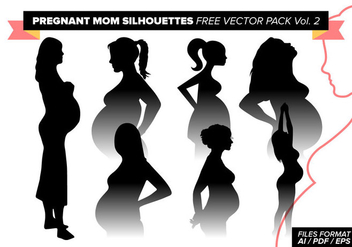 Pregnant Mom Silhouettes Free Vector Pack Vol. 2 - Free vector #383605
