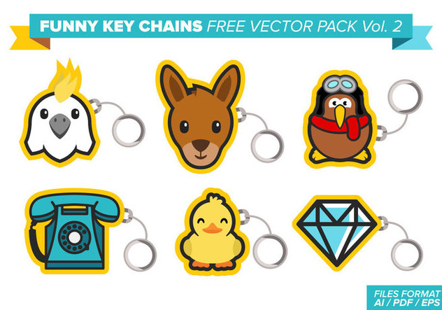 Funny Key Chains Free Vector Pack Vol. 2 - бесплатный vector #384005