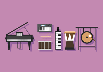 Vector Musical Instrument Percussion and Keys - Free vector #384495