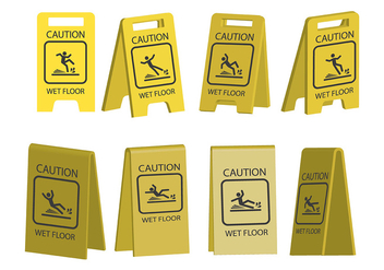 Wet Floor Icons - vector #385655 gratis