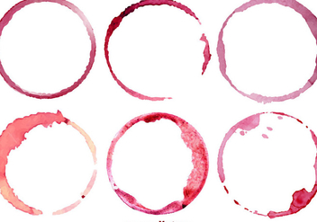Vector Set Of 6 Wine Stains - Kostenloses vector #385665