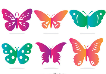 Colorful Butterfly Vector Set - Free vector #385845
