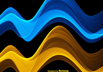 Vector Abstract Blue And Yellow Waves - vector gratuit #385895