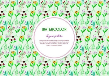 Painted Thyme and Flower Vector Pattern - Free vector #385985