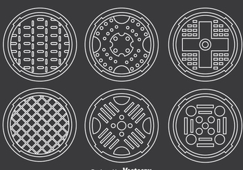 Manhole Covers Collection Vector - vector gratuit #386205