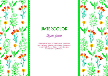 Watercolor Thyme and Flower Vector Frame - vector gratuit(e) #386235