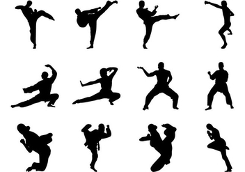 Free Martial Arts Silhouette Vector - Free vector #386425