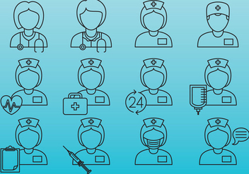 Nurse Line Icons - vector #386605 gratis