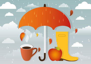 Rainy Vector Autumn Accessories - бесплатный vector #386635