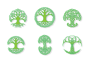 Green Celtic Tree Vector - vector #386815 gratis