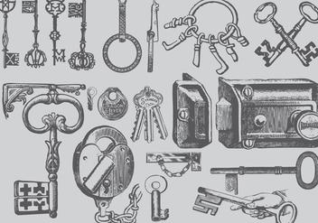 Vintage Key Drawings - Free vector #386855