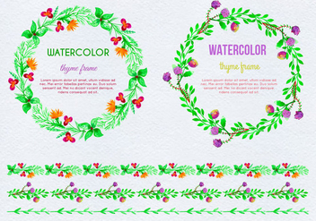 Free Vector Hand Drawn Watercolor Thyme Frames - бесплатный vector #387595