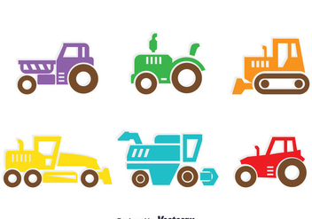 Colorful Tractors Collection Vector - vector gratuit #387845
