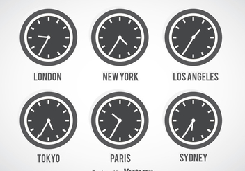 Time Zone Grey Clock Vector Set - Free vector #388145
