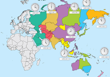 Asia Time Zones - vector gratuit #388425