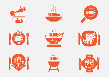Fish Fry Icons - vector #388475 gratis