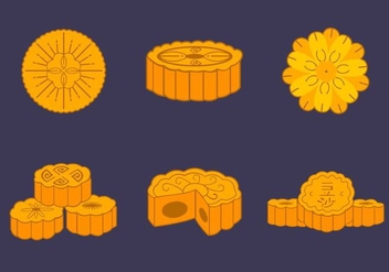 Mooncake traditional chinese bakery vector pack - Free vector #388865