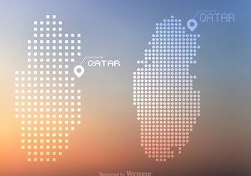 Free Qatar Vector Dots And Pixel Map - Free vector #388875