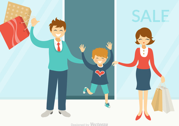 Free Happy Family Shopping Vector - бесплатный vector #388885