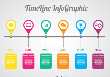 Colorful Timeline Infographic Vector - Free vector #388915
