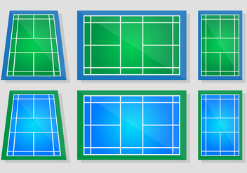 Badminton Court Vector Set - Free vector #388975