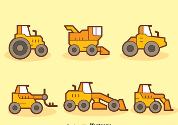 Cartoon Tractors Collection Vector - Free vector #389005
