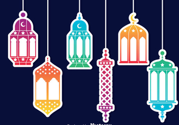 Colorful Arabian Lantern Vector - Free vector #389175