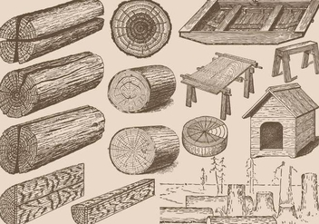 Vintage Wood Logs - vector gratuit #389715