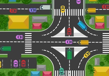 Cars and Street View Vector from Above - Free vector #390075