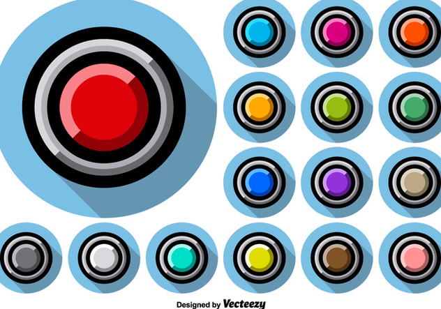 Collection Of Arcade Style Colorful Buttons - vector #390085 gratis