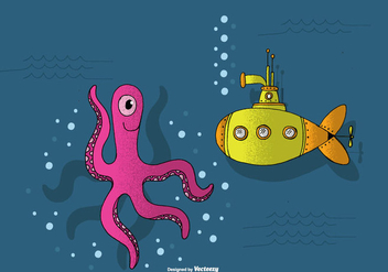 Submarine and Octopus Vector - Free vector #390095