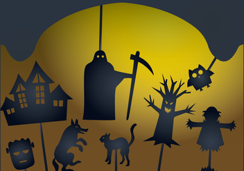 Glowing Halloween Shadow Puppet - vector gratuit #390555