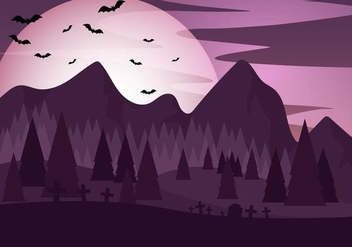 Purple Halloween Night Vector - Free vector #390975