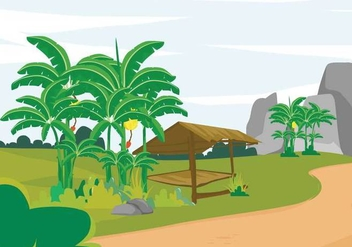 Free Banana Tree Landscape Illustration - Free vector #391565