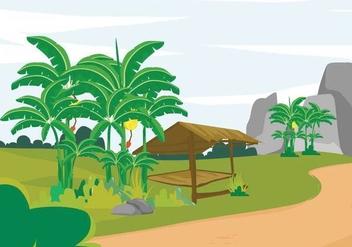 Free Banana Tree Landscape Illustration - vector #391565 gratis