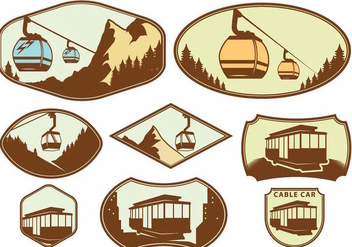 Cable Car Badge Set - vector gratuit(e) #391725